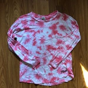 [VS PINK] Pink and White tie dye long  sleeve
